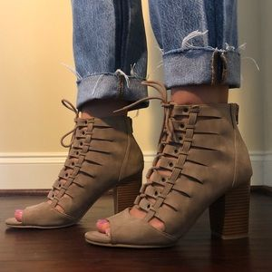 Rampage Tan Lace Up Block Heel